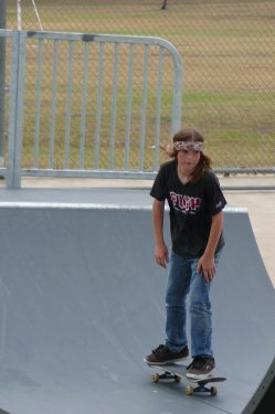 Teenage boy skateboarding at the Skate Park in Georgetown, TX