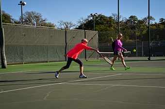 Women playing tennis at the Georgetown Tennis Center in Georgetown, TX