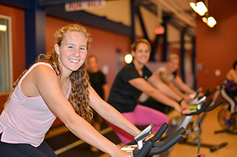 Women taking a spin class