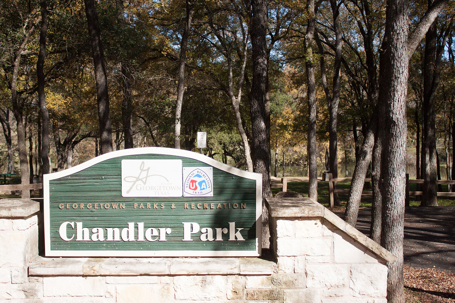 Entrance to Chandler Park in Georgetown, TX