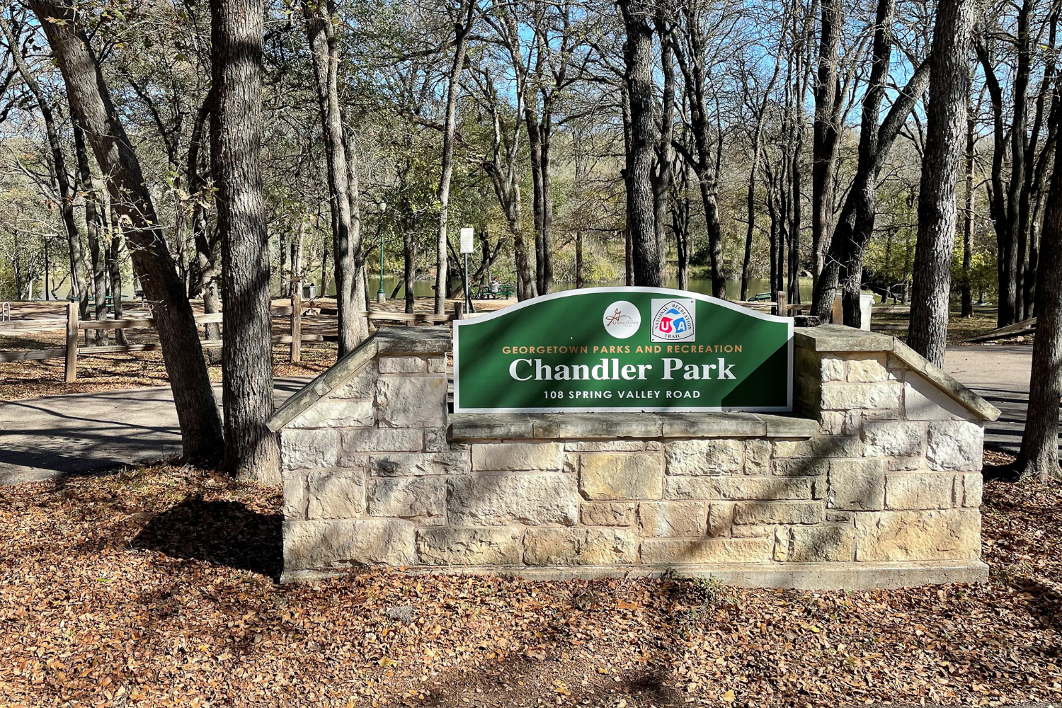 Sign at Chandler Park in Georgetown, TX