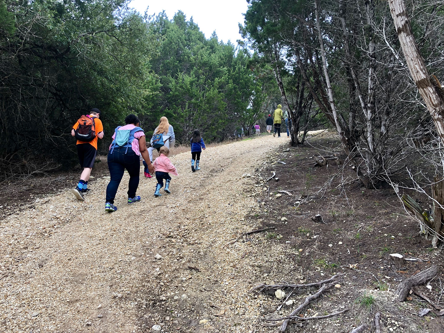 Group of people hiking at Garey Park