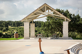 Splash Pad and Derby Pavilion at Garey Park in Georgetown, TX