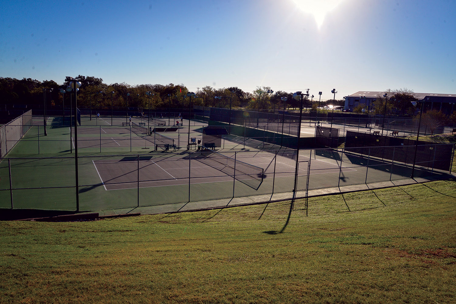 Empty tennis courts at the Georgetown Tennis Center