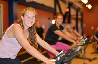 Women taking a spin class at the Georgetown Recreation Center