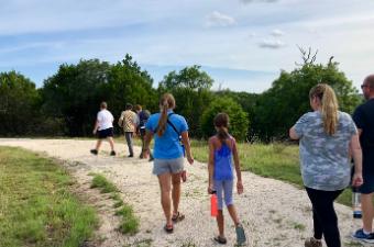 Group on an interpretive hike at Garey Park in Georgetown, TX