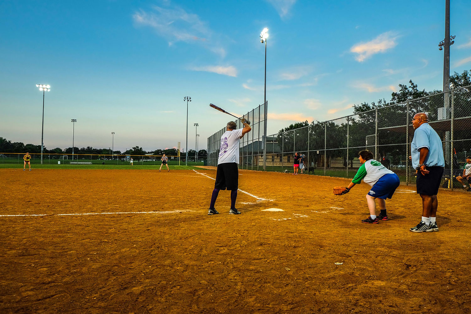 People playing softball at the McMaster Athletic Complex in Georgetown, TX