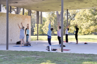 Yoga class in San Gabriel Park in Georgetown, TX