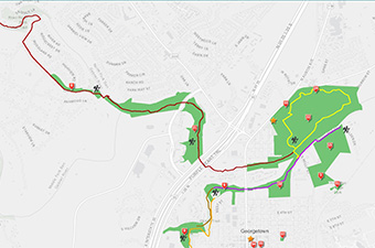 Trail map in Georgetown, TX