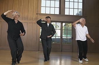 Seniors practicing martial arts.