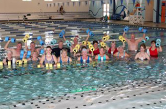 A water aerobics class at the indoor pool at the Georgetown Recreation Center