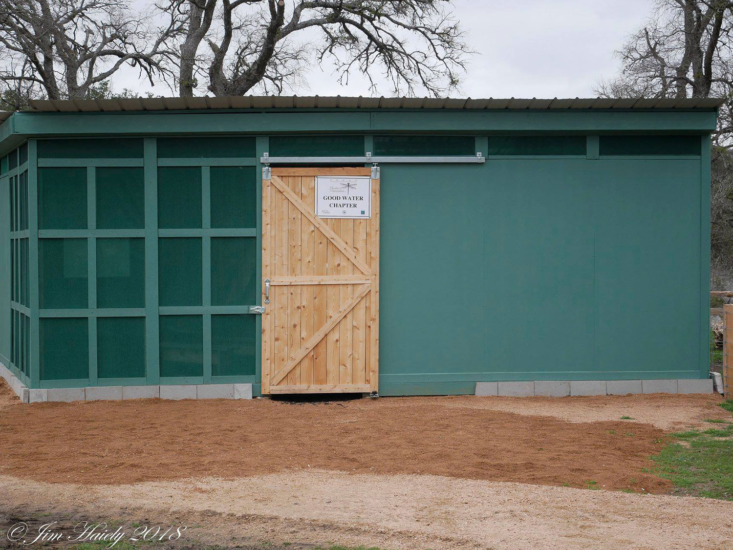 Wildlife Viewing Blind at Garey Park in Georgetown, TX with Good Water Master Naturalists sign on the door