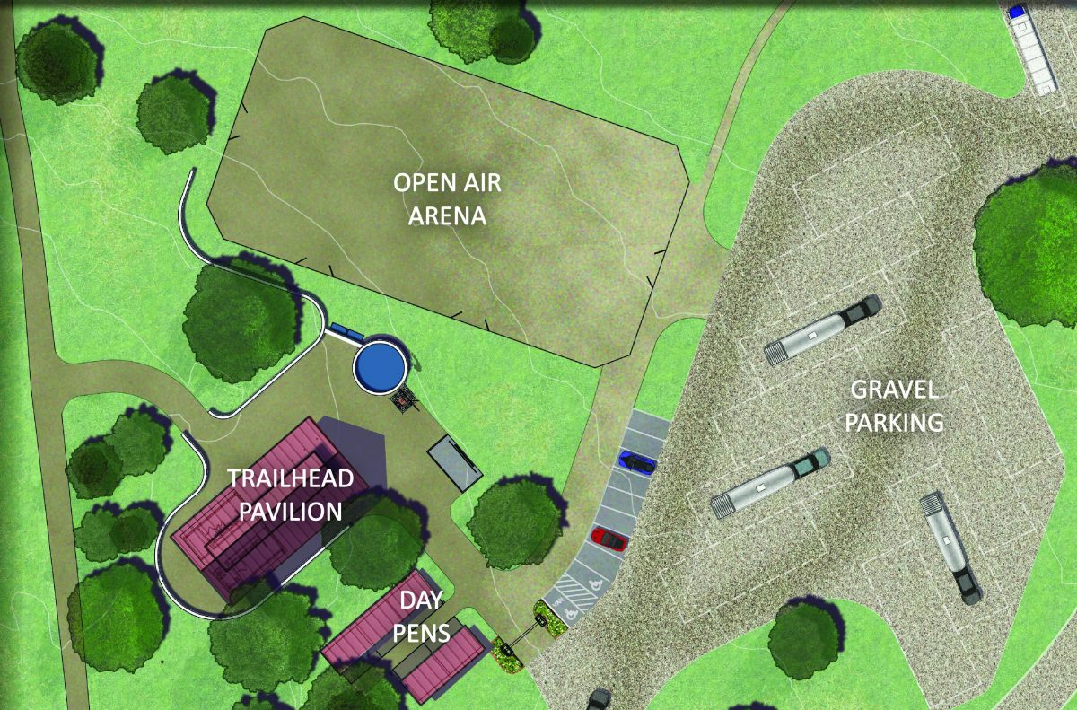 Map of the equestrian amenities at Garey Park in Georgetown, TX