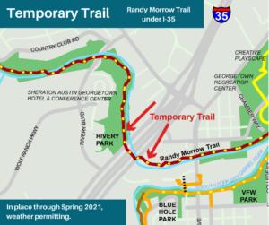 Map of Temporary Trail through Randy Morrow Trail