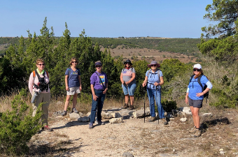 Group of seniors hiking in Central Texas